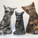 Cats, mixed media on ceramic, 2000-07.