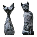 Cats, 2012 series, mixed media, epoxy, (cca. 25x25x60 cm)